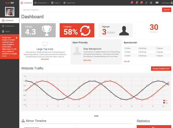 FlatKit admin dashboard template for CRM and SAAS