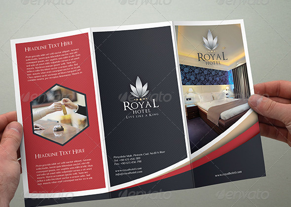 trifolded hotel brochure template