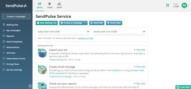 SendPulse Admin Dashboard