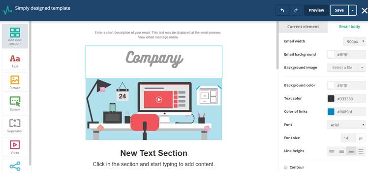SendPulse Email Templates Drag&Drop Editor