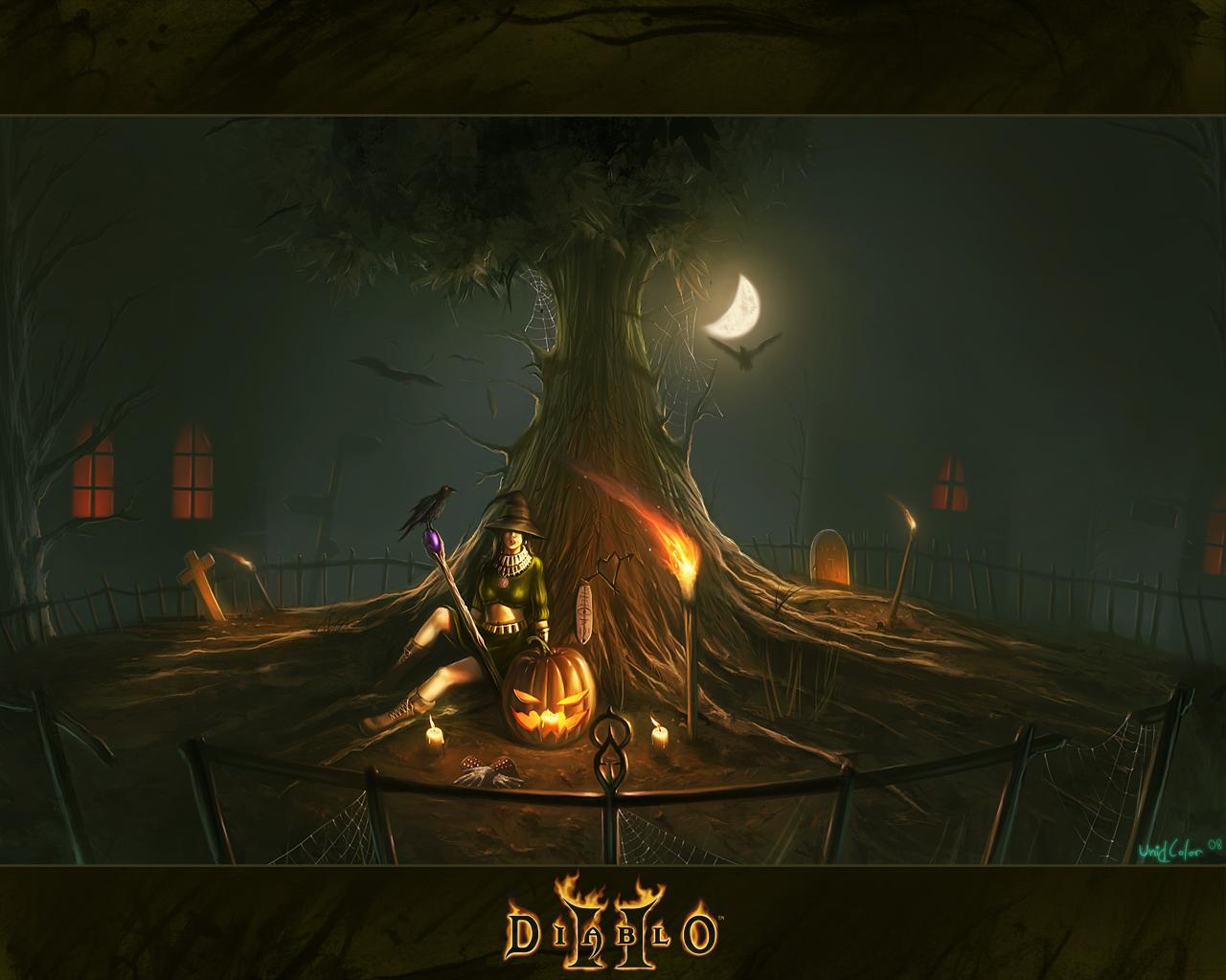 Top Wallpaper Halloween Spooky - sorceress-wallpaper-with-a-creepy-tree  Image_19732.jpg