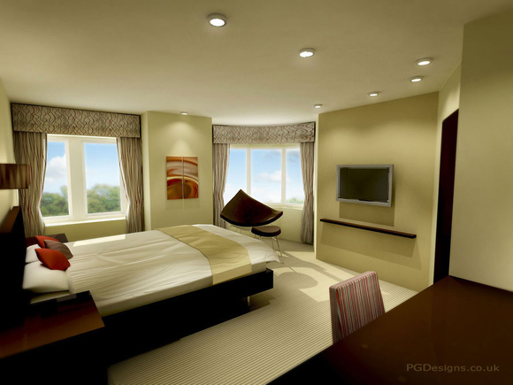 50 amazing interior designs created in 3d max and photoshop for Hotel room decor