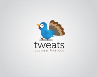 tweats-cuz-we-all-love-food-twitter-logo-design